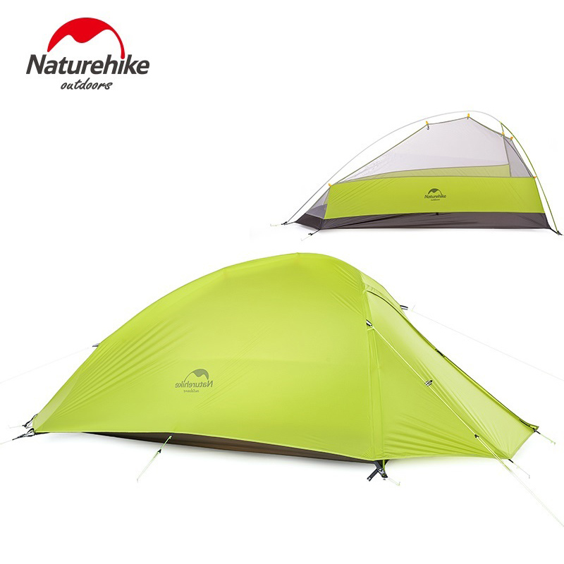 NatureHike 1 Person Tent Double-layer Tent Waterproof Dome Tents Camping 4 seasons Tents NH15T001-T With 1 Person Floor Mat naturehike new arrival tent camping 2 person waterproof double layer outdoors camping durable gear picnic tents green grey
