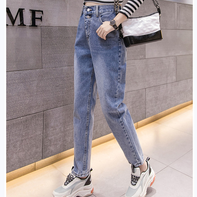 JUJULAND  Autumn Clothes Ladies High Waist Female Boyfriend Jeans For Women Trousers Pants Denim Ripped Jean Woman Plus Size6050