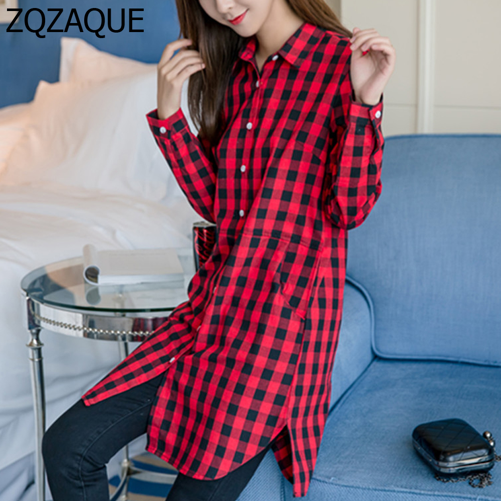 de6acfdf70 Cheap Price High Quality Long Plaid Shirts For Women Autumn New Korean  Style Girls All-