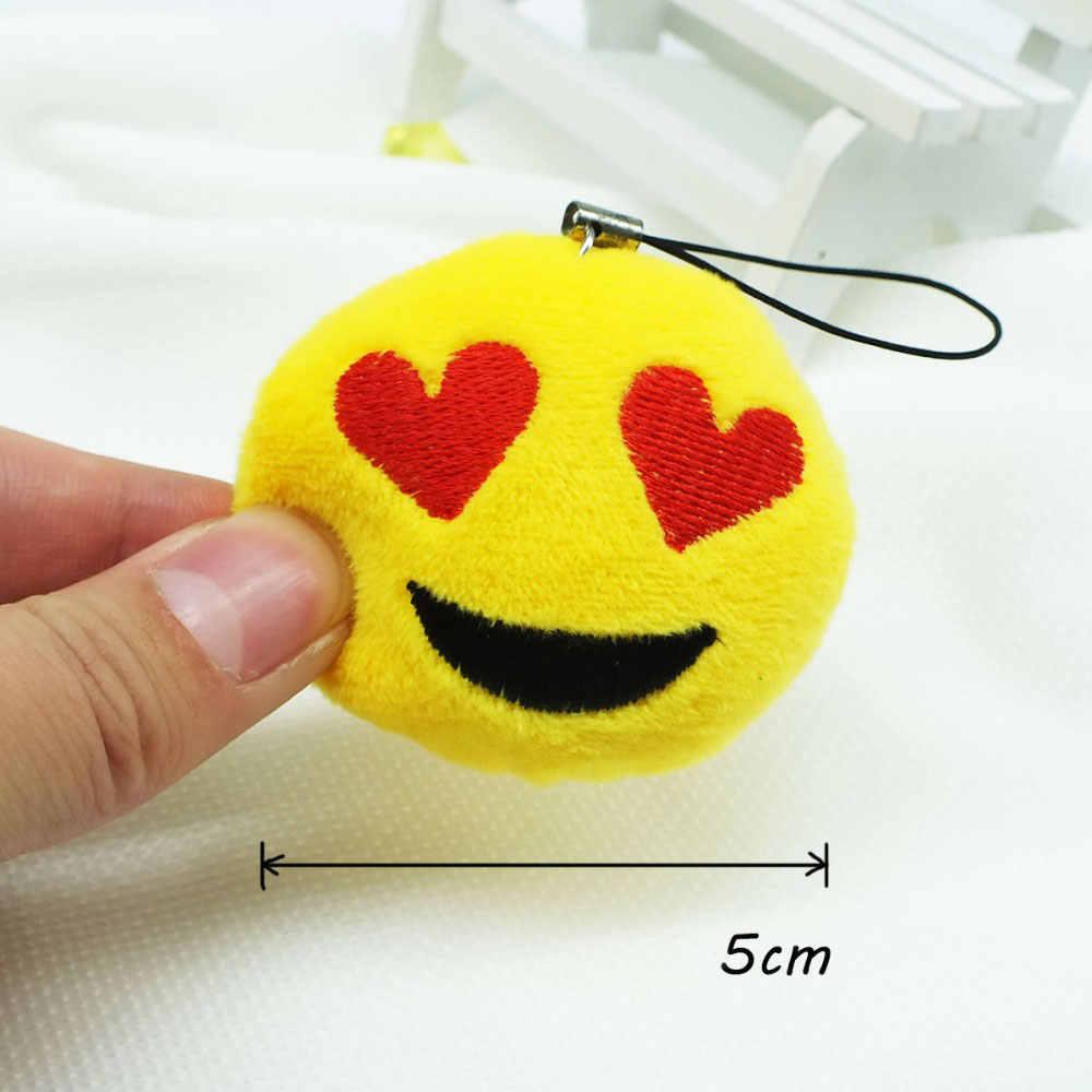 Zoeber emoji bonito sorriso rosto Redondo e Macio Stuffed Plush Toy Boneca dos desenhos animados chaveiros Chaveiros 2.7 cm mulheres de Telefone Chave Titular figura