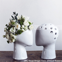 Nordic Abstract Creative Figure Human Head Shape Flower Vase Fashion Wedding Home Decor Modern Porcelain Ceramic Vase Ornament