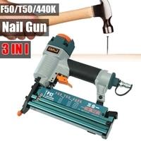 Portable 3 In1 Air Brad Nail G un Stapler Finish Nailer Pneumatic Finishing Nail Tool For T50 F50 440K