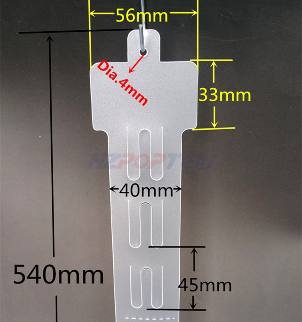 L54cm Plastic Clear PP Retail Hanging Products Commodity Display Merchandising Clip Strips 12 Hooks In Supermarket Store 120pcs