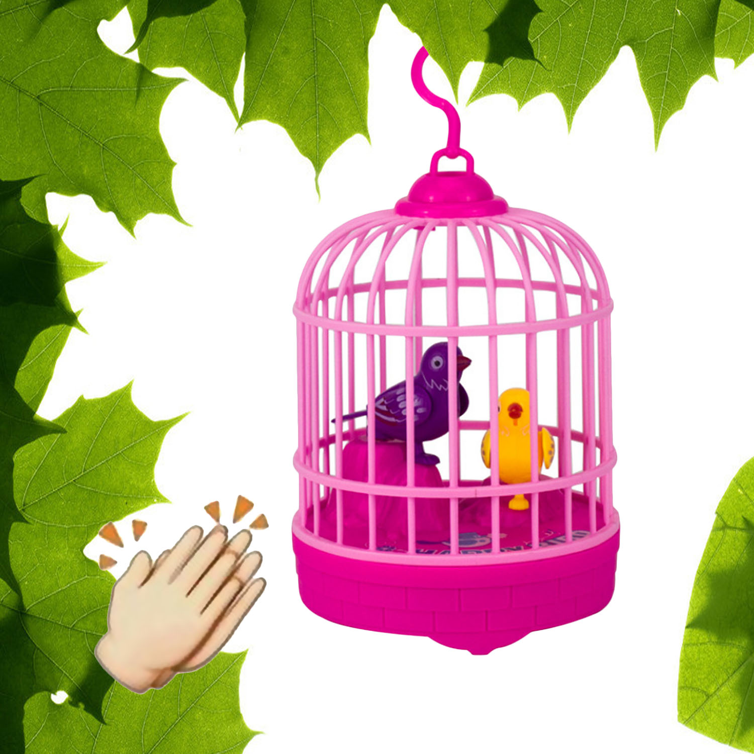 Besegad Sound Voice Control Activate Chirping Singing Simulation Birds With Birdcage Kids Funny Toys Pink