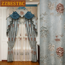 Top European luxury royal embossed jacquard blue living room curtains with high quality Voile Curtain bedroom window decoration