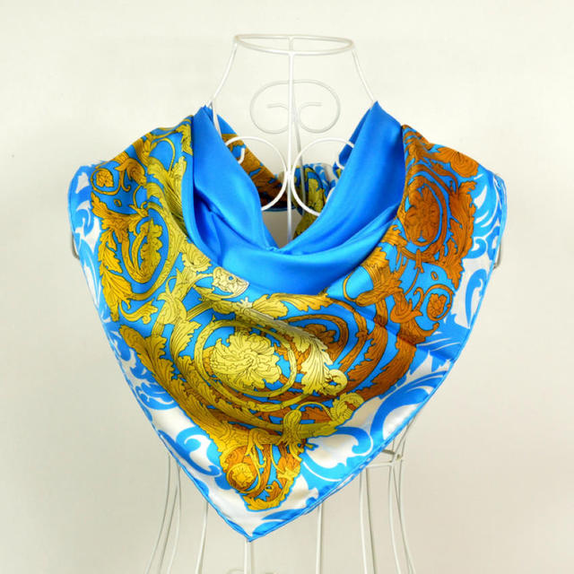 Hot Sale Blue Hollow Pattern Satin Scarves Wraps Printed For Lady New Gold Flower Twill Large Square Silk Scarf Female Cape