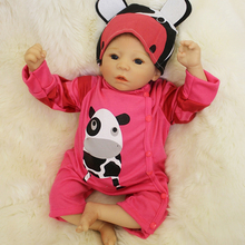 Rooted Mohair 20 Inch Reborn Baby Girl Cloth Body Realsitic Newborn Silicone Doll Toy With Cow Clothes Kids Birthday Xmas Gift