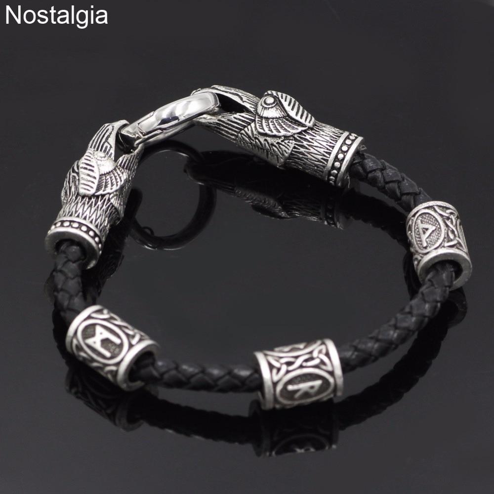 Nostalgia-Odins-Raven-Leather-Viking-Bracelet-Accesorios-Vikingos-Scandinavian-Runic-Personalized-Rune-Bead-Custom-Norse-Jewelry