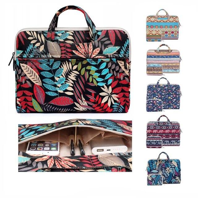 Laptop Bag 13 14 15.6 inch Case Notebook Bag For Macbook Air Pro 15.4 Laptop Shoulder Bag Floral Portable for Xiaomi Notebook