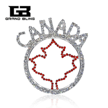 New Fashion Design Rhinestone CANADAPins with Maple Leaf Hand-made Jewelry
