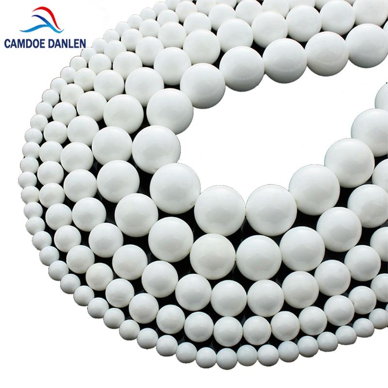 Naturstein Runde Perlen Weißes Porzellan Größe 4/6/8/10 / 12MM Diy Handmade Charms Bracelet & Bangles Necklace Jewelry Making