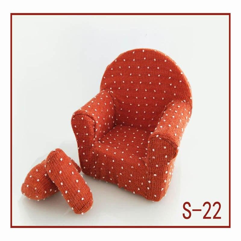 Реквизит для фотосъемки новорожденных, позирующий мини-диван, кресло на руку и 2 подушки, реквизит для фотосессии, студийные аксессуары для детей 0-3 месяцев - Цвет: 7