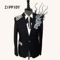Silver Rhinestones Crystals Branches Adorn Design Men S Black Suit Jacket Nightclub Male Singer Celebrate Prom