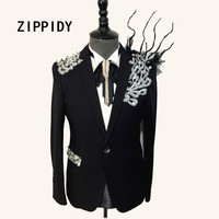 Silver Rhinestones Crystals Branches Adorn Design Men's Black Suit Jacket Nightclub Male Singer Celebrate Prom Blazer Show Wear