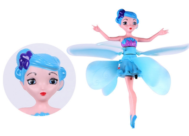 MJD Toys Blue Fairy Doll Induction Fly Toys Remote Control RC Helicopter Flying Quadcopter Drone Kids Toy Fairy Doll Best Gifts