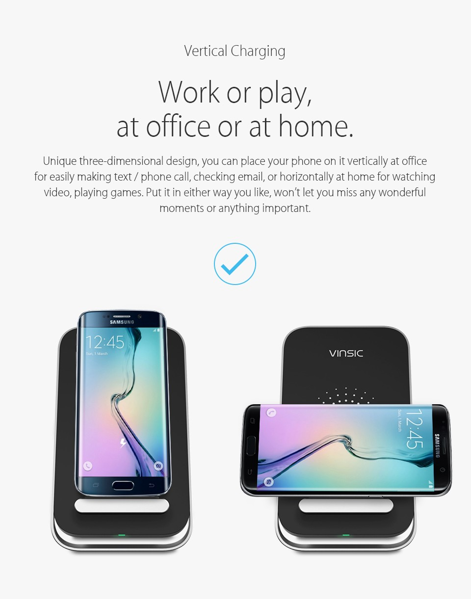 Vinsic Qi Wireless Charger Wireless Charging Pad for iPhone
