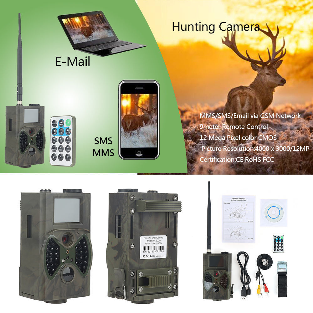 GSM MMS hunting trail camera hc 300m Suntek with 940nm Night vision LEDs infrared outdoor camera for hunting hot hd12mp 36 black ir led mms outdoor waterproof trail huntingcamera for suntek hc 300m safety iron boxes free shipping