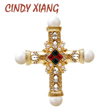 CINDY XIANG new arrival pearl rhinestone baroque cross brooch women and men unisex brooches pin fashion vintage gold color gift
