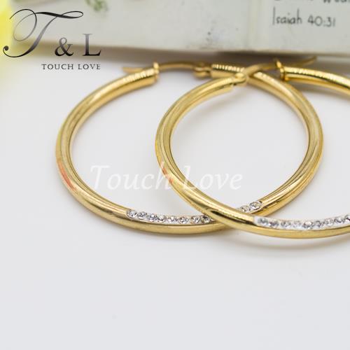crystal big hoop earrings 18k gold plated thick big loop hoop