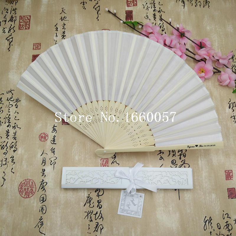 100pcs White Wedding Personalized Silk Fan Cloth Hand Fan Folding Fans in Gift Box Customized Names