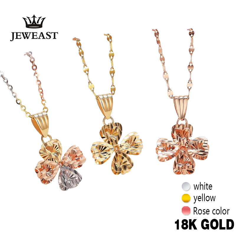 Real 18K Gold Pendant Fine Jewelry Women Miss Girls Gift Party Female Necklace Diamond-Jewelry Solid Hot Sale New Good Trendy