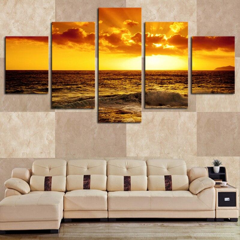5 վահանակ գեղեցիկ ծովանկարիչ Beach HD - Տնային դեկոր - Լուսանկար 2