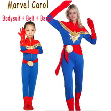 Halloween Captain Marvel Carol Costume For Women Girls Danvers Avengers Cosplay Superhero Zentai Bodysuit Carnival Party