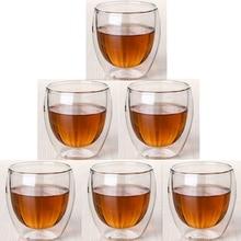 6 шт./компл. двойными стенками термостойкие прозрачные ручной работы Чай напиток здоровый напиток чашки Кофе утепленная подарок