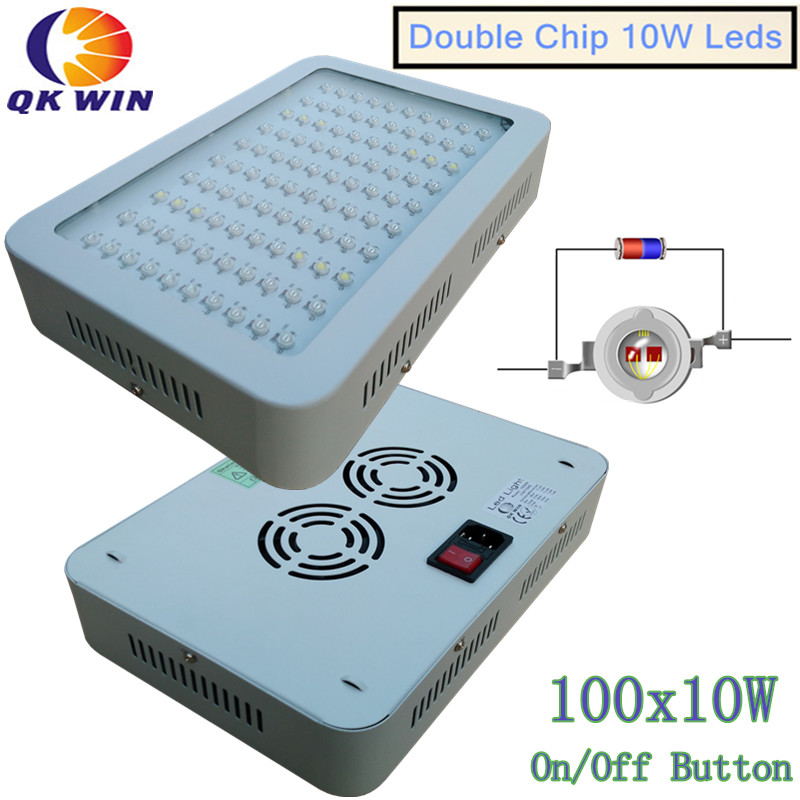 Qkwin New 600W/1000W/1600W/2400W LED Grow Light 100X10w Full Spectrum with 410-730nm For Indoor plants' grow and Flowering qkwin 600w double chip led grow light 60x10w full spectrum 410 730nm for indoor plants and flower with very high yield