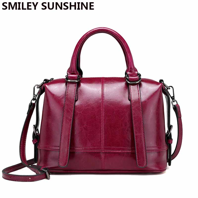 SMILEY SOLEIL Boston dames en cuir véritable sacs femme de luxe en cuir de femmes sacs à main designer messenger sacs fourre-tout sac à main