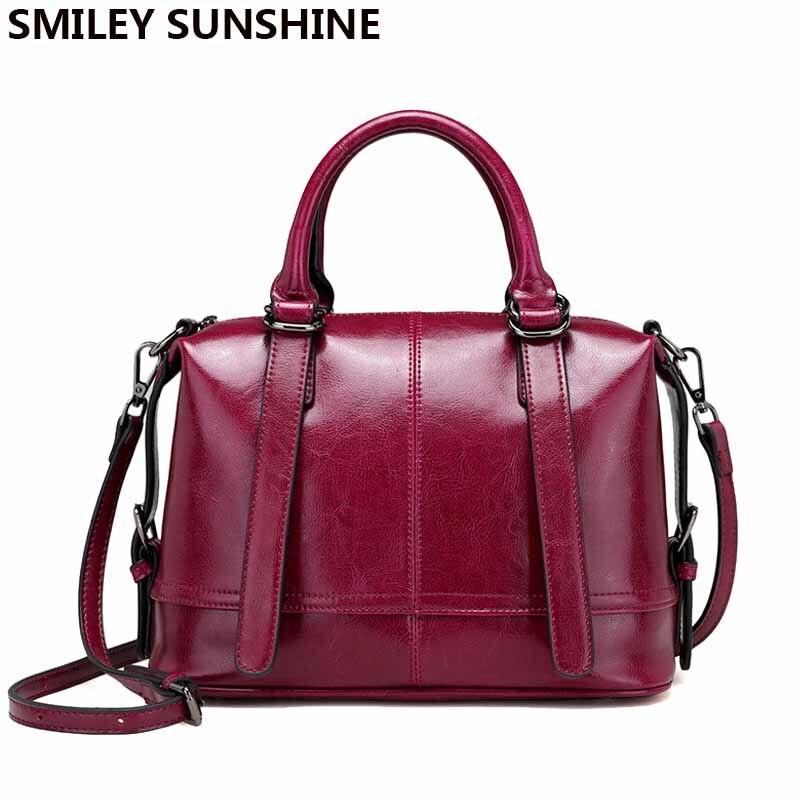 SMILEY SOLEIL Boston dames véritable sacs en cuirs femelle de luxe femmes sacs à main en cuir de concepteur sacs de postier sac à main fourre-tout