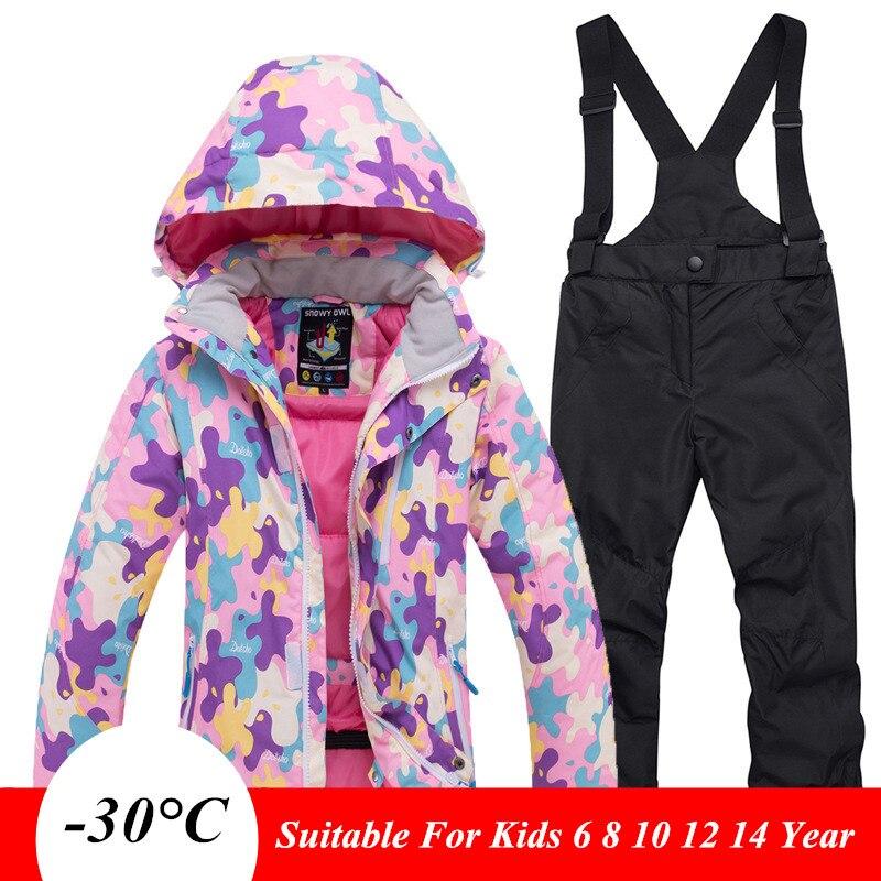 -30 Russia Children Winter Ski Set Kids Waterproof Jacket And Pants Overalls Suit For Teens Boys Girls 6 8 10 12 14 Y Snowsuit