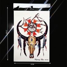 Goat Skull Head Waterproof Temporary Tattoo Deamcatcher Indian Totem Fake Flash Tattoo Stickers PHB-636 Men Body Art ARm Feather