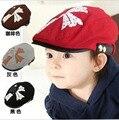 Корейская версия детские берет младенца шлема кленовый лист печать шерсть мягкая фетровая шляпа шляпа прилив весной и летом девочка мальчик caps