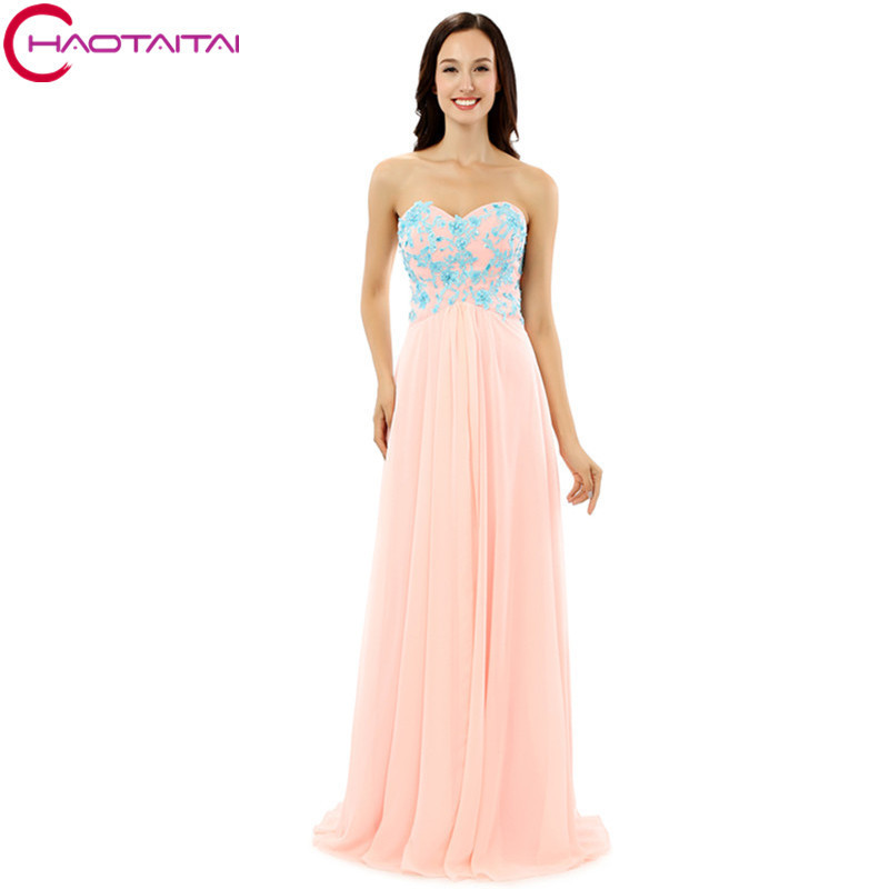 Buy Evening Dresses Bridal Strapless Women Summer Chiffon Prom Blue Appliques Light Pink Long Formal Gowns