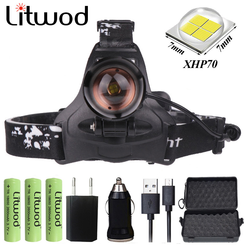 Z20 Litwod 2608 32W Chip XHP70 Headlight 32000lum Powerful Led Headlamp Zoom Head Lamp Flashlight Torch Lantern Head Light