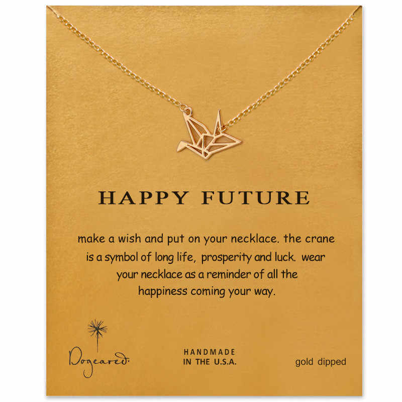 Contracted Magical Unicorn Series Gold With Card Cranes Birds Pendant Necklace For Women Clavicle Chain Accessories Wholesale
