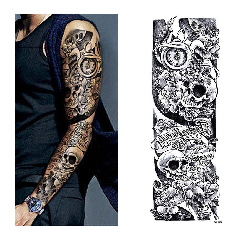 Us 225 40 Off1pc Temporary Tattoo Sleeve Designs Full Arm Waterproof Tattoos For Cool Men Women Transferable Tattoos Stickers On The Body Art In