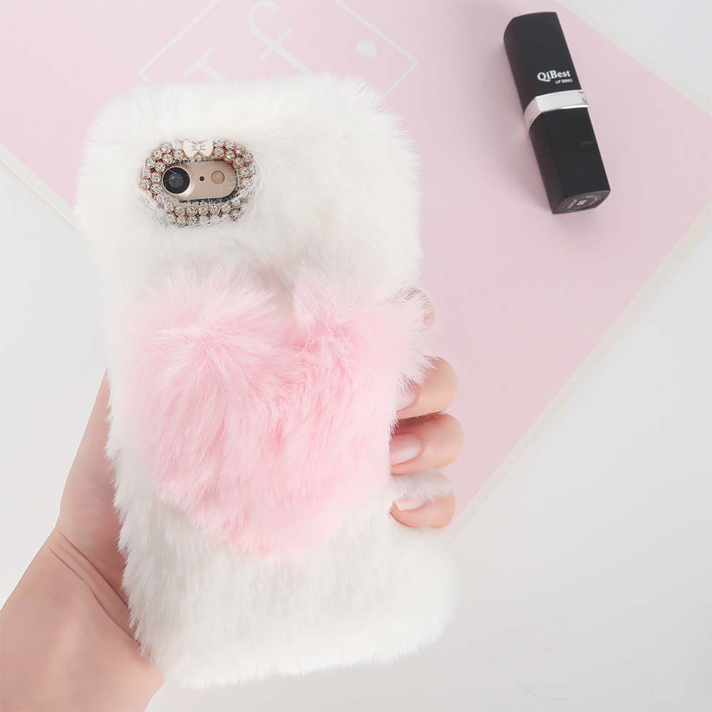a0d1deb823 3D LOVE Heart Cute Fluffy Rabbit Fur For iPhone X Case Xs Max XR Soft Cover  Warm Case For iPhone 4s 5s 6 6s Plus 7 8 Plus -in Fitted Cases from ...