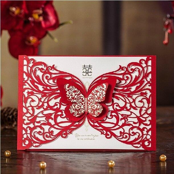Vermelho chins xi flor borboleta corte a laser personalizado vermelho chins xi flor borboleta corte a laser personalizado personalizado impresso dos convites do casamento com envelope 50 setlote em cards convites stopboris Choice Image