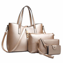 3 PCS/Set European Style Luxury Ladies Leather Handbag Messenger Bags Shoulder Bags Pure Color Clutch Bags Small Card Hodler