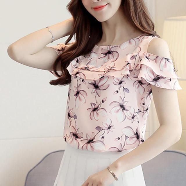 8f7c538803932 2018 Women Off-shoulder Short Sleeve Chiffon Blouse Print Floral Chiffon  Shirts Casual Lad