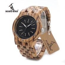 BOBO BIRD N12 Wooden Watches Mens Brand Luxury Zebra Wood Band Quartz Watch Accept Logo Laser Customized Dropshipping