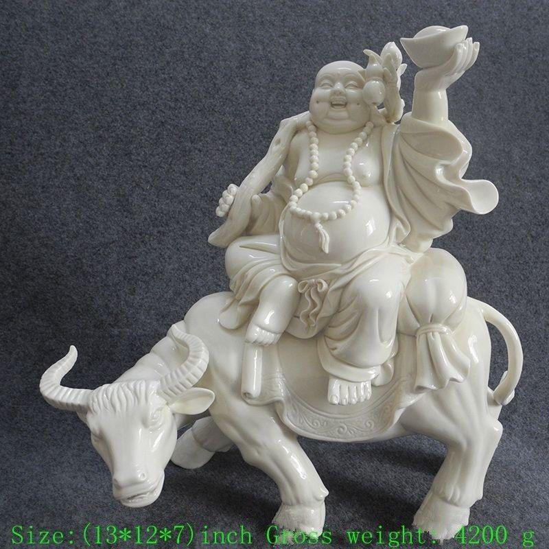 33 см Дэхуа Фарфор Смеющийся Будда для верховой езды корова процветающий бизнес Тыква Статуя фарфор ремесла, семья рождественские украшения