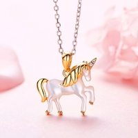 Unicorn Charms Animal Pattern 925 Sterling Silver Shell Cute/Romantic Fashion Style