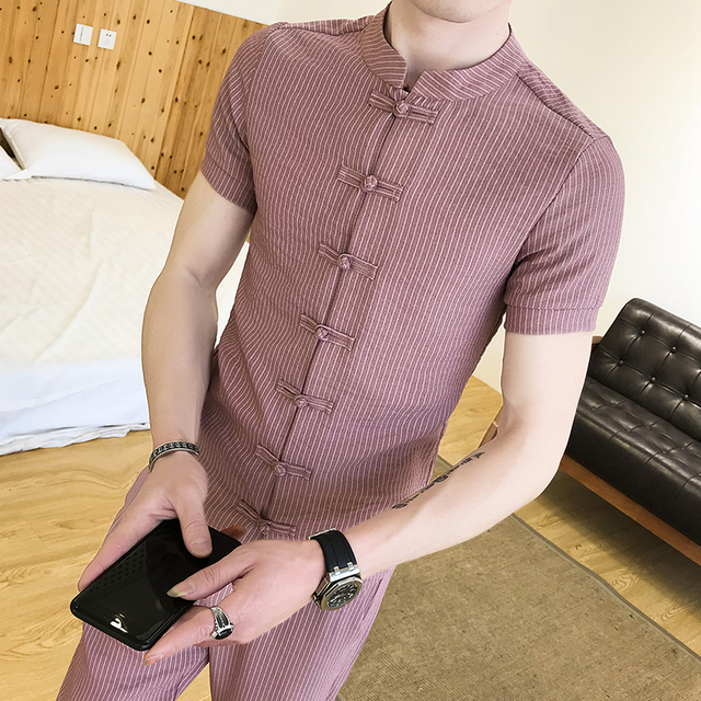 1120fbd75 (Set) Summer New China Style Slim Men Chinese Button T-shirt Teen Fashion  Stand Collar Men Casual T-shirt Short Sleeve