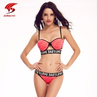 JABERNI Bikini 2017 Push Up Sexy Swimwear Halter Top Bottom Women Swimsuit Bikini Shorts Beach
