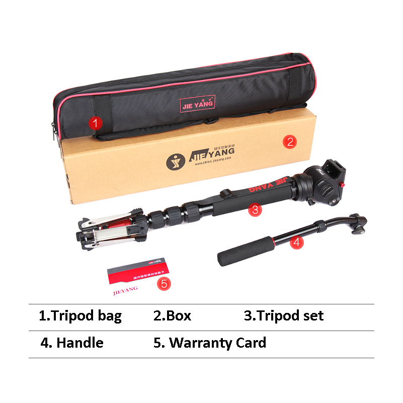 JIEYANG JY0506 Aluminum Professional Video Monopod Tripod For Video Camera DSLR Camcorder & Panoramic Fluid Head & Bag