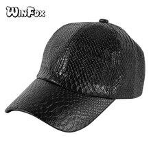 Winfox golpeteo cocodrilo negro PU cuero Hip Hop Cap hombres mujeres  invierno Casual gorro sombreros Snapback Gorras masculino 0182287ab0b