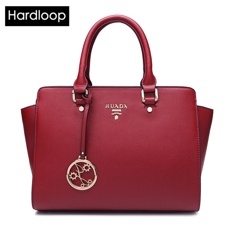 Hardloop Brand Design Women Genuine Leather Trapeze Handbags Solid Big Capacity
